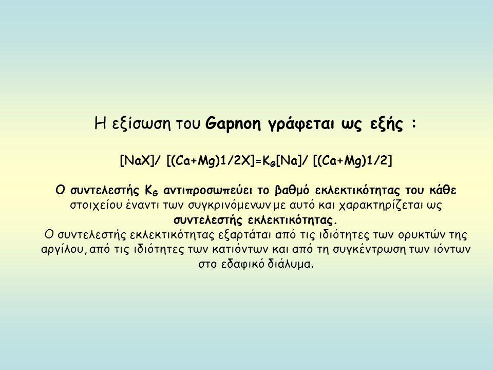 [ΝaΧ]/ [(Ca+Μg)1/2Χ]=KG[Na]/ [(Ca+Μg)1/2]